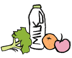 Image of milk, fruit and vegetables